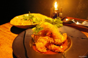 Crisply fried shrimp and Japanese scallop